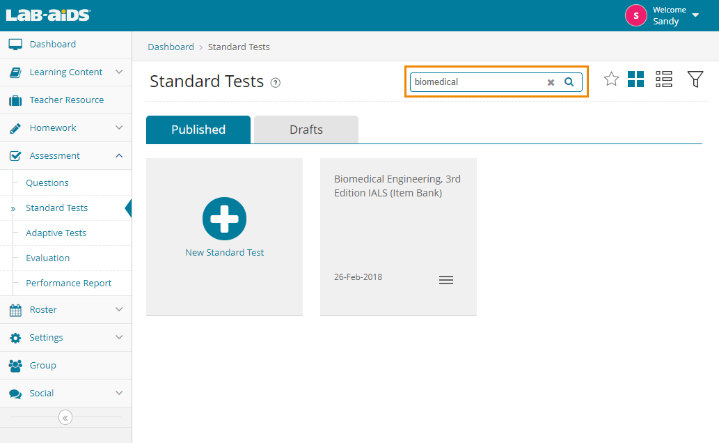 "View all tests or search for a specific test by typing in the ""search"" field in the top right."