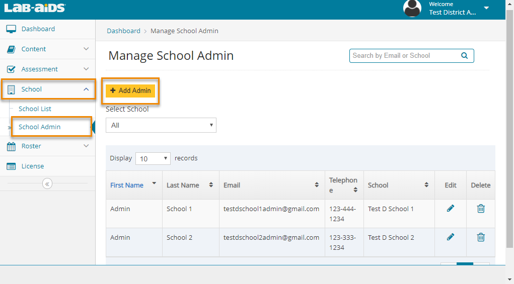 "Click School List, and then School Admin, and then ""Add Admin""."