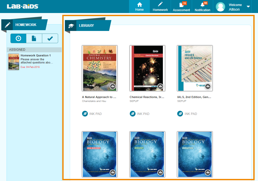 Upon login, students will see the books in their library. Click on a book to read it.