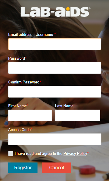 "Screenshot showing the ""new user? register here"" screen. first name, last name, username, access code, etc."