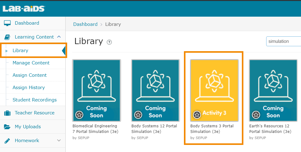 Click on Learning Content > Library to view simulations.