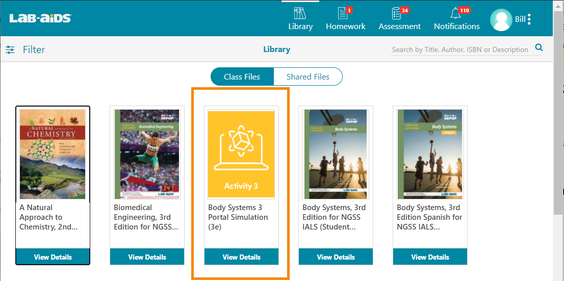 Students log in and will see simulations in their library.