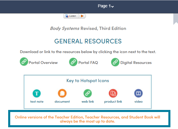 Page 1 of each Teacher's Edition states that the online versions are the most recently updated versions.