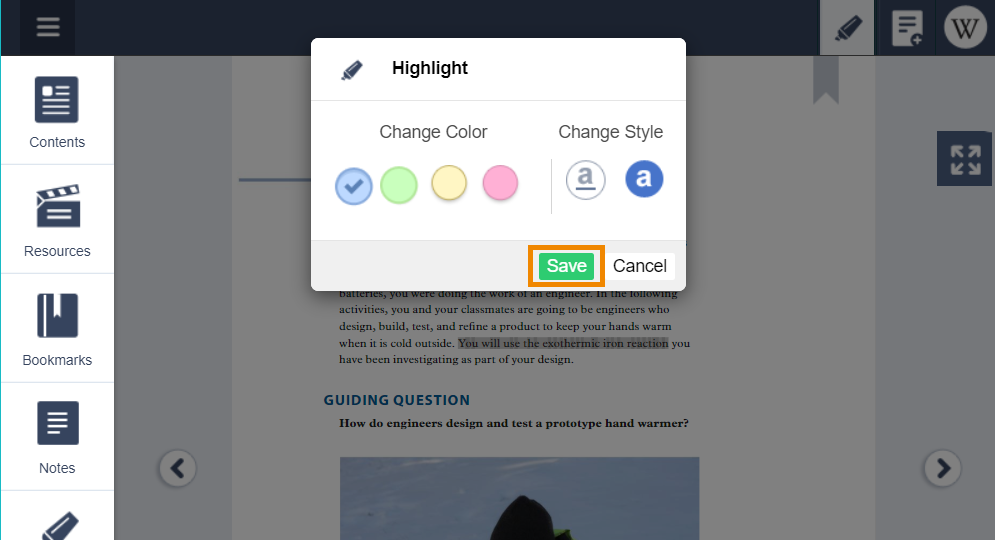 "Click the ""highlight"" icon, choose your color, and click ""save""."