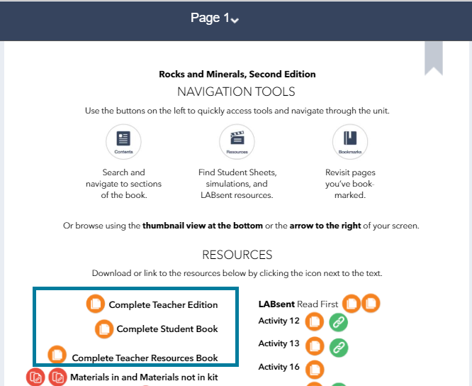 "From the first page, click ""complete teacher edition"" or ""complete student book"" to download and print from the PDF."